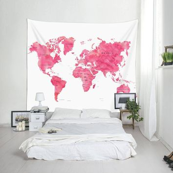Pink World Map Fabric Wall Tapestry