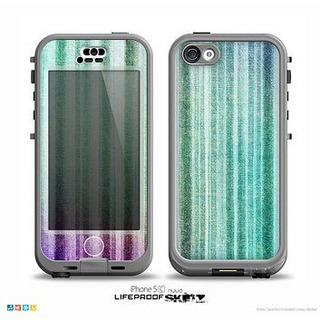 The Green and Purple Dyed Textile Skin for the iPhone 5c nüüd LifeProof Case