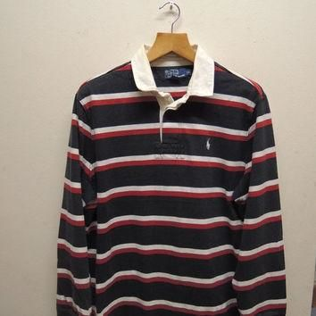 15% CRAZE SALE Vintage 90's Polo Ralph Lauren Rugby Wear Stripe Long Sleeve Polos Spor