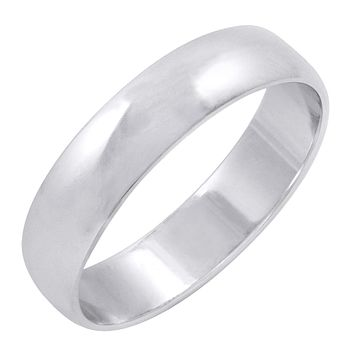 Men's 10K White Gold 5mm Traditional Fit Plain Wedding Band (Available Ring Sizes 8-12 1/2)