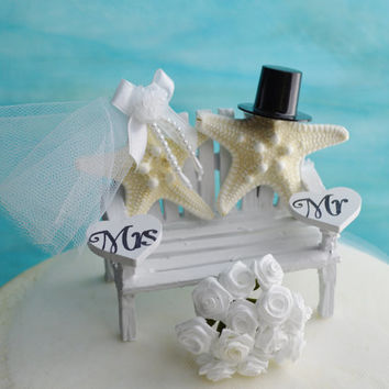 Wedding Cake Topper ~ White ~ 3 Inch Miniature Bench  ~ Starfish Bride and Groom ~ Beach Wedding Decor ~ Mr and Mrs Hearts