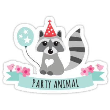 Cute raccoon with party animal banner, flowers and birds by MheaDesign
