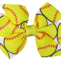 "Ship From USA--Hip Girl Boutique 2pc Small 3"" Softball(White/Lemon) Grosgrain Ribbon Pinwheel Hair Bow Alligator Clips"