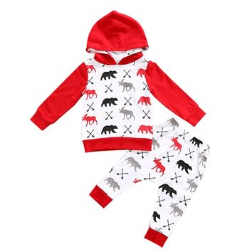 Baby clothes set Toddler Infant Baby Boy red moose bear
