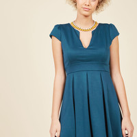Meet Me at the Punch Bowl A-Line Dress in Juniper
