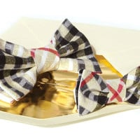 Father and Son Bow Tie Set Gold plaid Red Matching Tie Set  Boys bow tie. Boys birthday gift. Easter Ready to Ship