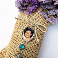 memorial photo pendant for wedding bouquet or boutonniere accented with bead and bird charm