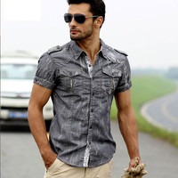 Short Sleeve Grey Denim Shirt