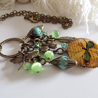 Dragonfly Necklace Dragonfly Locket  Green Dragonfly Charm  Victorian Style Necklace Steampunk Jewelry Gift for Her