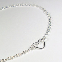 Heart Anklet in Sterling Silver Simple Summer Jewellery - Minimalist Jewellery