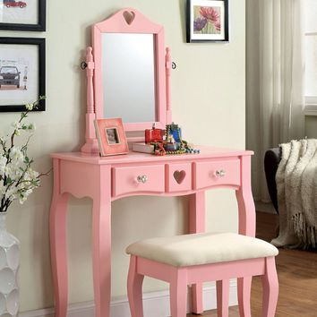 3 pc Francine collection pinkfinish wood vanity set with bench and mirror
