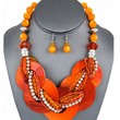 Chic POP Color Statement Orange Shell Braid Stand Silver beads Necklace Earrings Set Jewelry