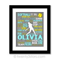 Softball Typography Wall Art - Choose Any Colors - twenty3stars
