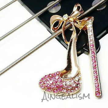 Shoe Cabochon - High Heel Shoe Charm Shoe Decoden DIY Cell Phone Deco Cabochon Pink Heel 55mm x 38mm