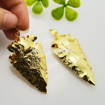 6Pcs Arrowhead Shape Full Gold Color Stones Pendant Bead Fashion Charm J