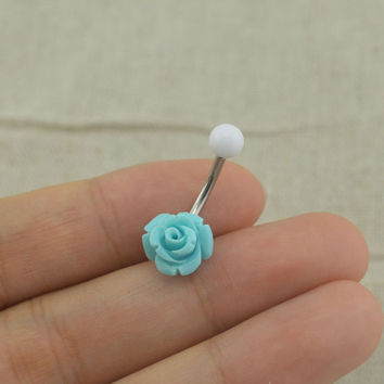 belly button rings rose navel ring flower belly button piercing,friendship gift