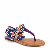 tribal printed bow t-strap sandals $16.50 in PURPLE   GoJane.com