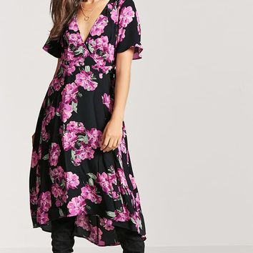 Floral High-Low Wrap Dress