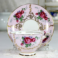 Grosvenor Pink Tea Cup and Saucer, Deep Pink Roses, Bone China, English Teacups 12442