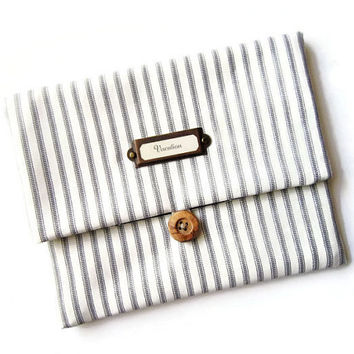 Fold over clutch / makeup bag / travel pouch/ business clutch/ simple storage/ travel organizer / stripe and navy anchor / wooden button