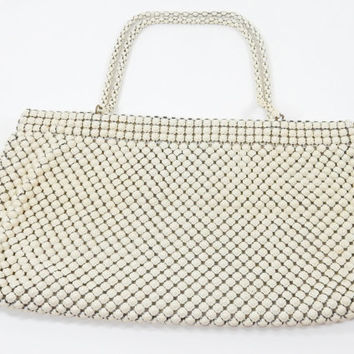 Whiting and Davis Mesh Purse, Ivory Mesh Purse, 1940s Purse, Evening Bag, Wedding Bag, Bridal Purse, Alumesh Metal Bag