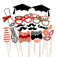 Photo Booth Prop Fun Graduation Party Masks with Sticks - PRA133
