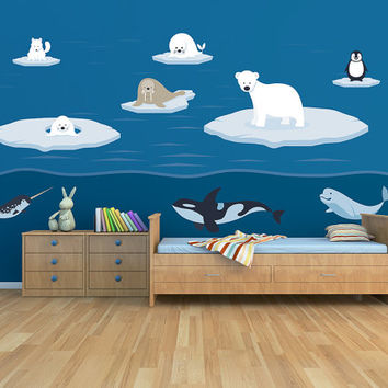 Polar Arctic Sea Animals Printed Matte Removable Vinyl Wall Art childs bedroom kids room ice iceberg whale polar dolphin penguin fox