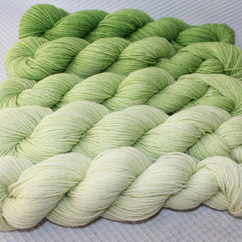 Gradient Yarn Set- Hand dyed Superwash  sock yarn  in Green Apple