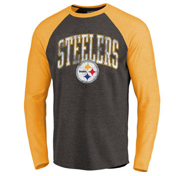 Pittsburgh Steelers NFL Pro Line by Fanatics Branded Wide Arch Long Sleeve Raglan T-Shirt - Heathered Black/Gold
