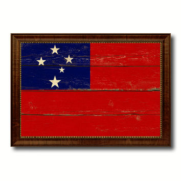 Western Samoa Country Flag Vintage Canvas Print with Brown Picture Frame Home Decor Gifts Wall Art Decoration Artwork