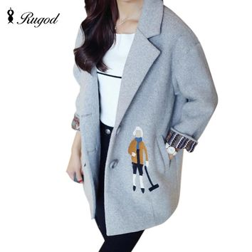 Rugod 2018 New Korean Women Woolen Jacket Female Casual Cotton-padded Winter Coat Cartoon Embroidery Wool Coat Casaco Feminino