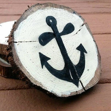 Set of 4 Anchor Wood Coaster, Natural Wood Coaster, Rustic Wood Circles, Rustic Wood Rounds