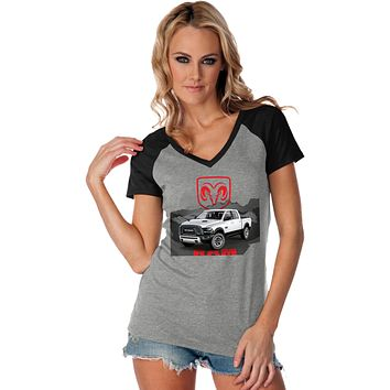 Buy Cool Shirts Ladies Dodge T-shirt White Ram Contrast V-Neck