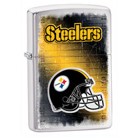 Personalized NFL Brushed Chrome Zippo Lighter - Pittsburgh Steelers