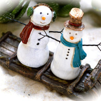 Mr & Mrs Snowman Sledding ~  Snowman Couple ~ Snowman and Snow Woman ~ Miniature Sled ~ Miniature Snowmen ~ Winter Decor ~ Snowman Figures