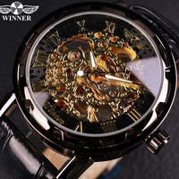 Relogios Skeleton Mens Watches Top Brand Luxury Montre Leather