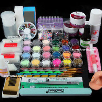 Nail Art Acrylic Powder Primer Glitte False Tips Brush  Dust Kit Buffer Files