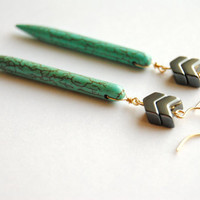 Turquoise Chevron Earrings - Handmade Jewelry - Free Shipping in the US - Holiday Jewelry / Christmas Gifts
