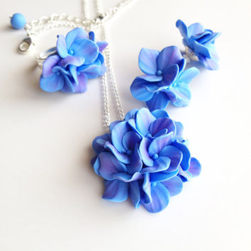 Hydrangea jewelry set, bridesmaid jewelry set, jewelry set, jewelry flowers, sets for bridesmaids, blue jewellery set, set of jewellery