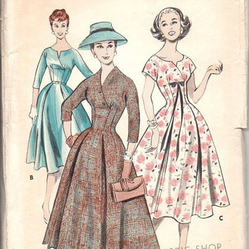 Butterick 8219 Sewing Pattern 50s Retro Tea Garden Party Dress Full Circle Skirt Fitted Bodice Empire Princess Bust 36