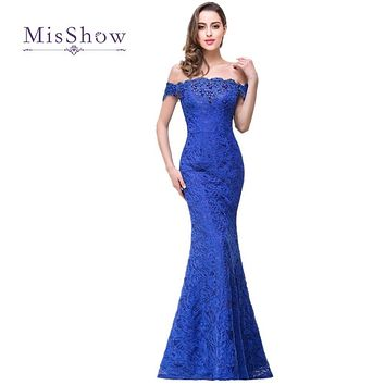 New Mermaid Off The Shoulder Full Lace Crystals Royal Blue Bridesmaid Dress Wedding Party Dress Robe Demoiselle D'honneur CPS199