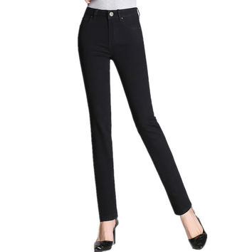 FINEWORDS 2017 Spring Summer Boot Cut Stretch Push Up Women Black Jean Causal Easy-match Slim Fit Zipper Fly Denim Pencil Pant