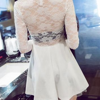 Casual White Patchwork Hollow-out Lace V-neck Long Sleeve Mini Dress
