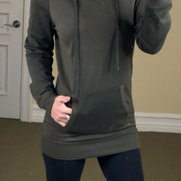 Long Hooded Sweatshirt: Olive