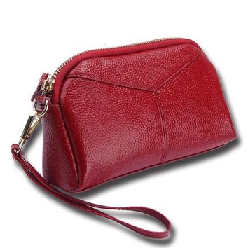 Genuine Leather Women Day Clutch Bags Handbags Women Brands Ladies Wristlet Clutch Wallet Female Purse Evening Party Bag
