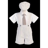 Striped Khaki Tan Cotton Seersucker Boys Suspender Shorts Set 6M-4T
