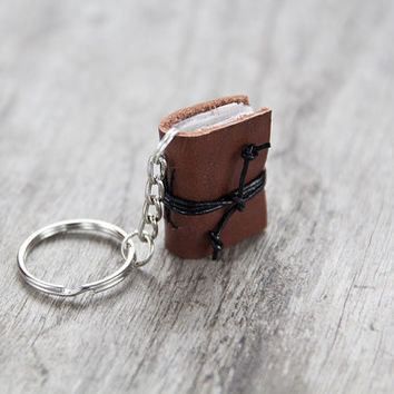mini book keychain, key accessories leather keychain, zipper pull, bag charm, key fob book keychain, book lover, miniature journal brown