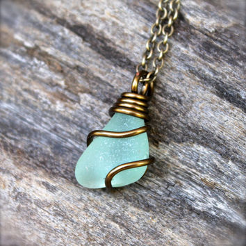 Sea Glass Jewelry - Aqua Blue Seaglass Jewelry from Hawaii - Hawaiian Jewelry - Sea Glass Necklace - Beach Boho Necklace - Gypsy Necklace