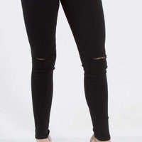 KanCan Jeans Ripped Knee Skinny Jeans in Black KC1652