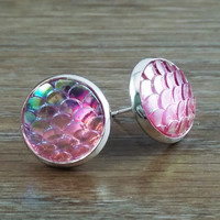 Mermaid Scales- ab light pink mermaid/ dragon scale earrings